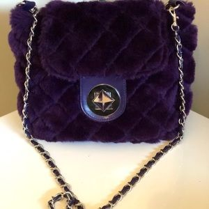 Womens Faux Fur Large Purple Quilted Crossbody Bag